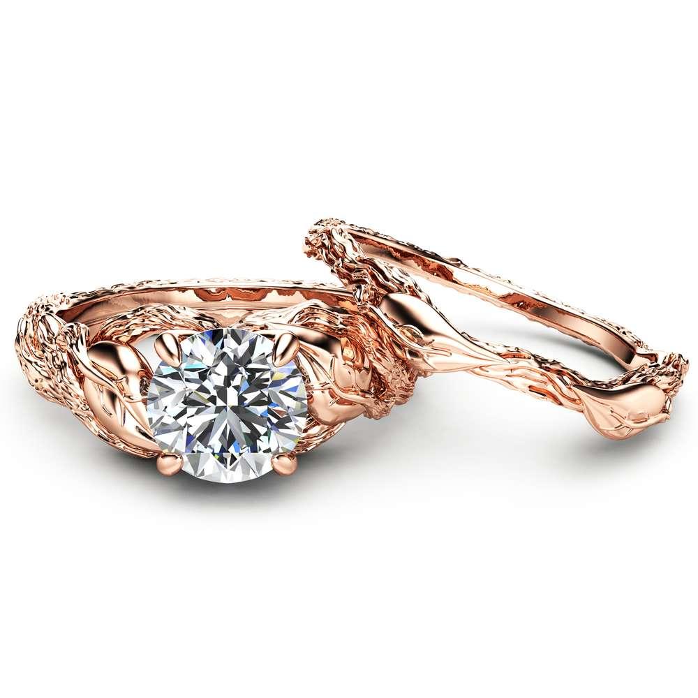 Nature Inspired Moissanite Engagement Ring Set 14K Rose Gold Engagement Rings Branch and Wedding Moissanite Rings
