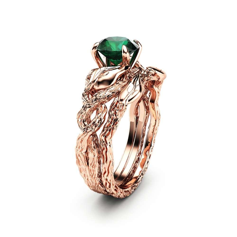Nature Inspired Emerald Engagement Ring Set 8K Rose Gold Engagement Rings  Branch and Wedding Emerald Ring