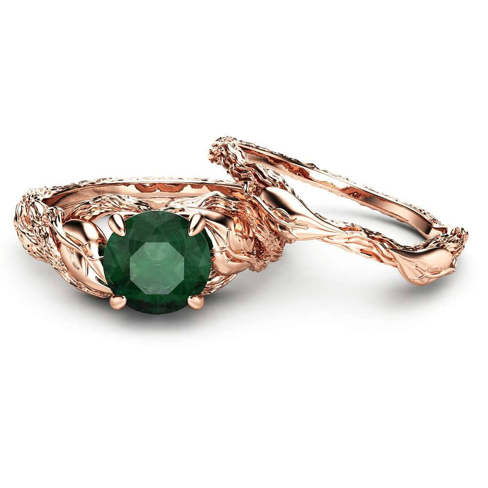 Nature Inspired Emerald Engagement Ring Set 14K Rose Gold Engagement Rings Branch and Wedding Emerald Ring
