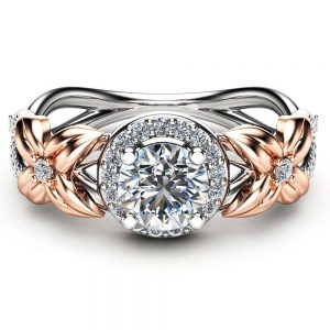 Halo Diamond Engagement Ring 14K Two Tone Gold Floral Ring Half Carat Natural Diamond Engagement Ring