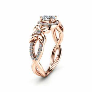 Halo Diamond Engagement Ring 14K Rose Gold Floral Ring Half Carat Natural Diamond Engagement Ring