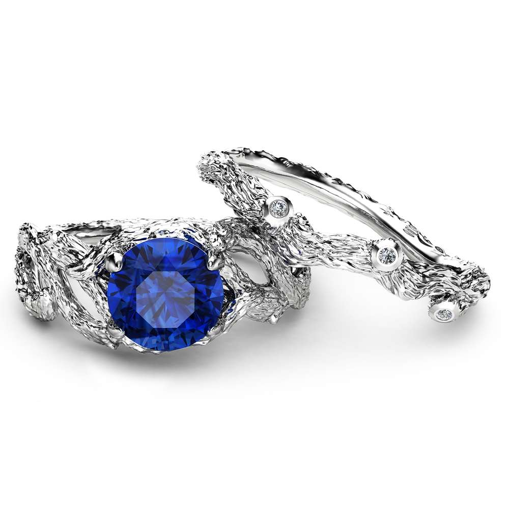 Natural Sapphire Branch Engagement Ring Set Unique 14K White Gold Engagement Rings Branch Design Sapphire Rings