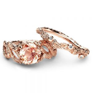 Morganite Branch Engagement Ring Set Unique 14K Rose Gold Morganite Rings Branch Design Engagement Rings