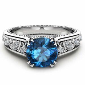 Blue Diamond Vintage Engagement Ring Unique 14K White Gold Engagement Ring Diamond Vintage Ring