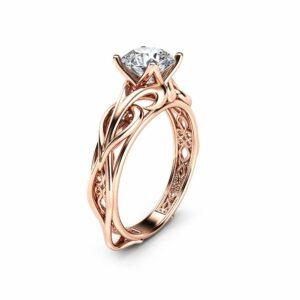 Diamond Solitaire Engagement Ring Filigree Diamond Engagement Ring Conflict Free Diamond Vintage Ring