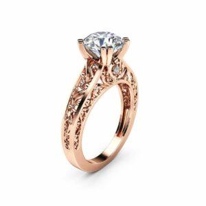 14K Rose Gold Moissanite Engagement Ring Unique 2 Carat Round Cut Moissanite Engagement Ring