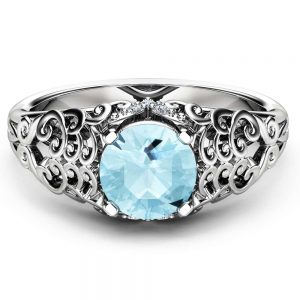 Natural Aquamarine Engagement Ring Solid 14K White Gold Ring Unique Filigree Engagement Ring