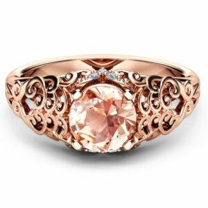 Natural Morganite Engagement Ring Vintage 14K Rose Gold Ring Unique Filigree Design Ring Art Deco Engagement Ring