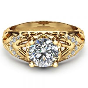 Unique Engagement Ring Forever One Moissanite Ring 14K Yellow Gold Ring Art Deco Styled Engagement Ring