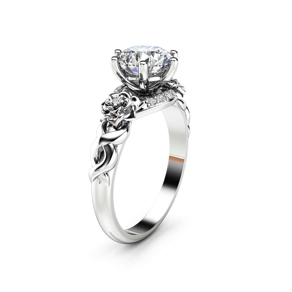Moissanite Floral Engagement Ring 14K White Gold Floral Ring Art Nouveau Styled Engagement Ring