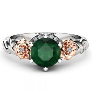 Emerald Floral Engagement Ring 14K Two Tone Gold Floral Ring Art Nouveau Styled Engagement Ring