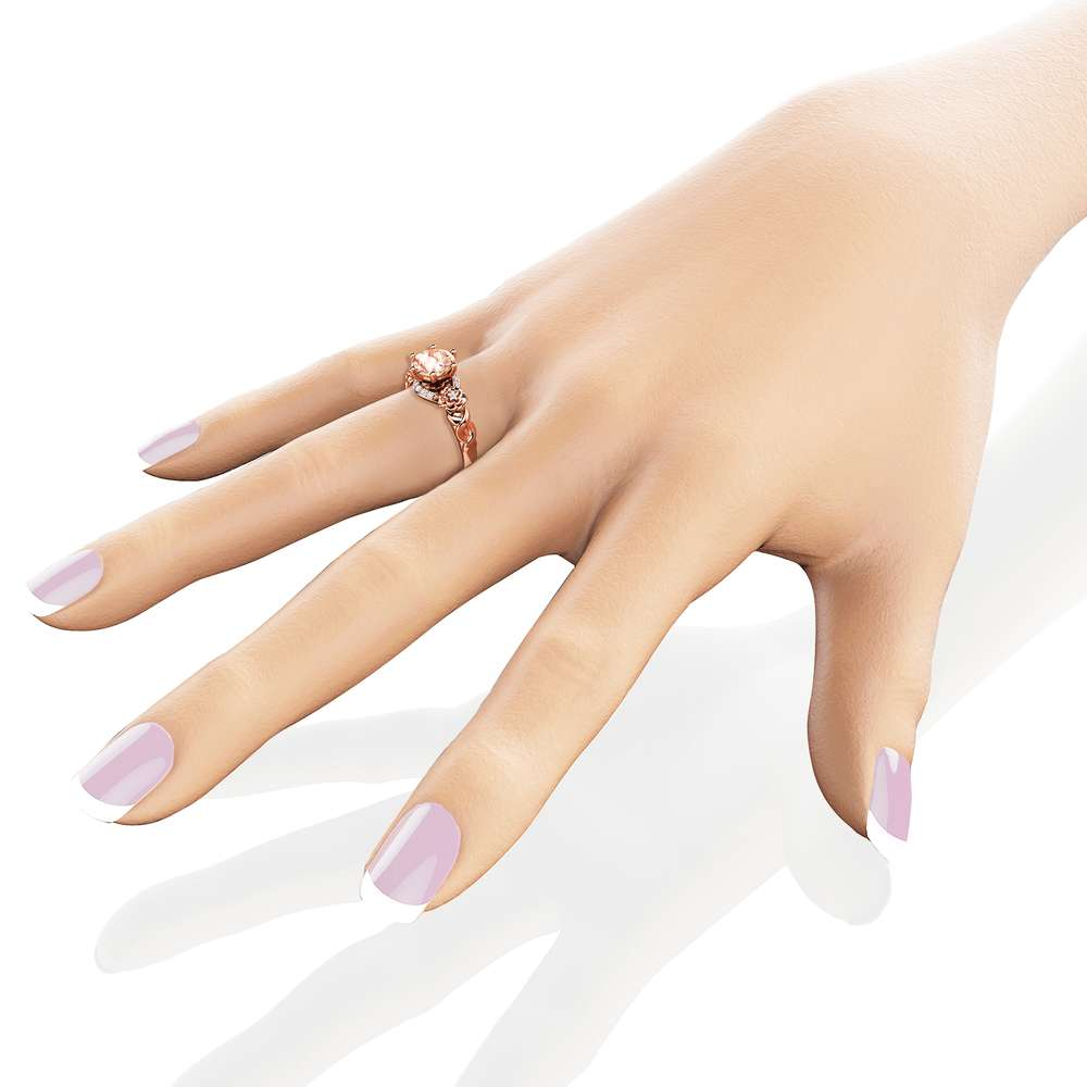Art Nouveau Morganite Engagement Ring 14K Rose Gold Floral Ring Morganite Engagement Ring