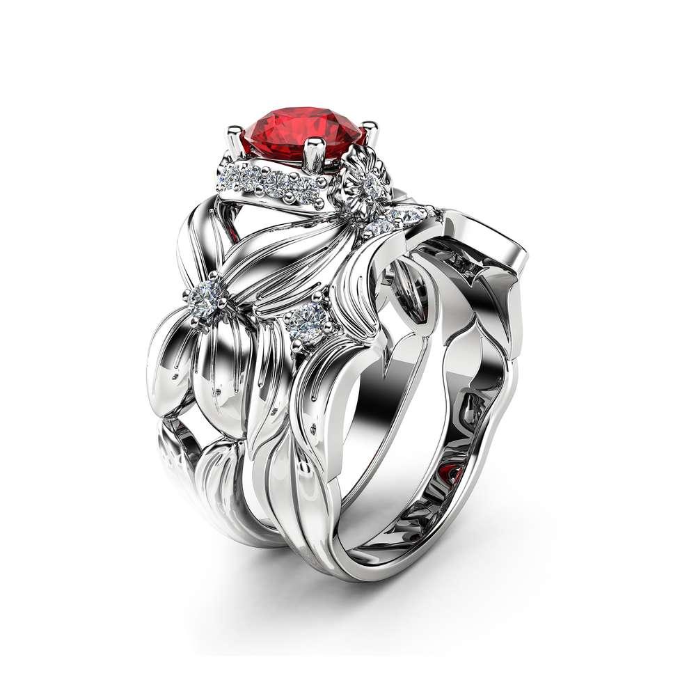Flower Ruby Engagement Ring Set 14K White Gold Engagement Rings Nature Inspired Ruby Rings