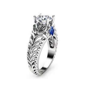 Unique Filigree Engagement Ring 14K White Gold Ring Princess Sapphires Forever One Moissanite Engagement Ring