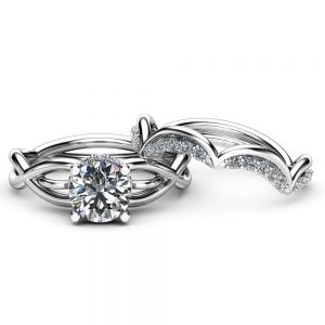 Unique Moissanite Engagement Ring Set Wedding Engagement Rings 14K White Gold Ring with Matching Band