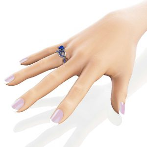 Unique Sapphires Engagement Ring Set Wedding Engagement Rings 14K White Gold Ring with Matching Band