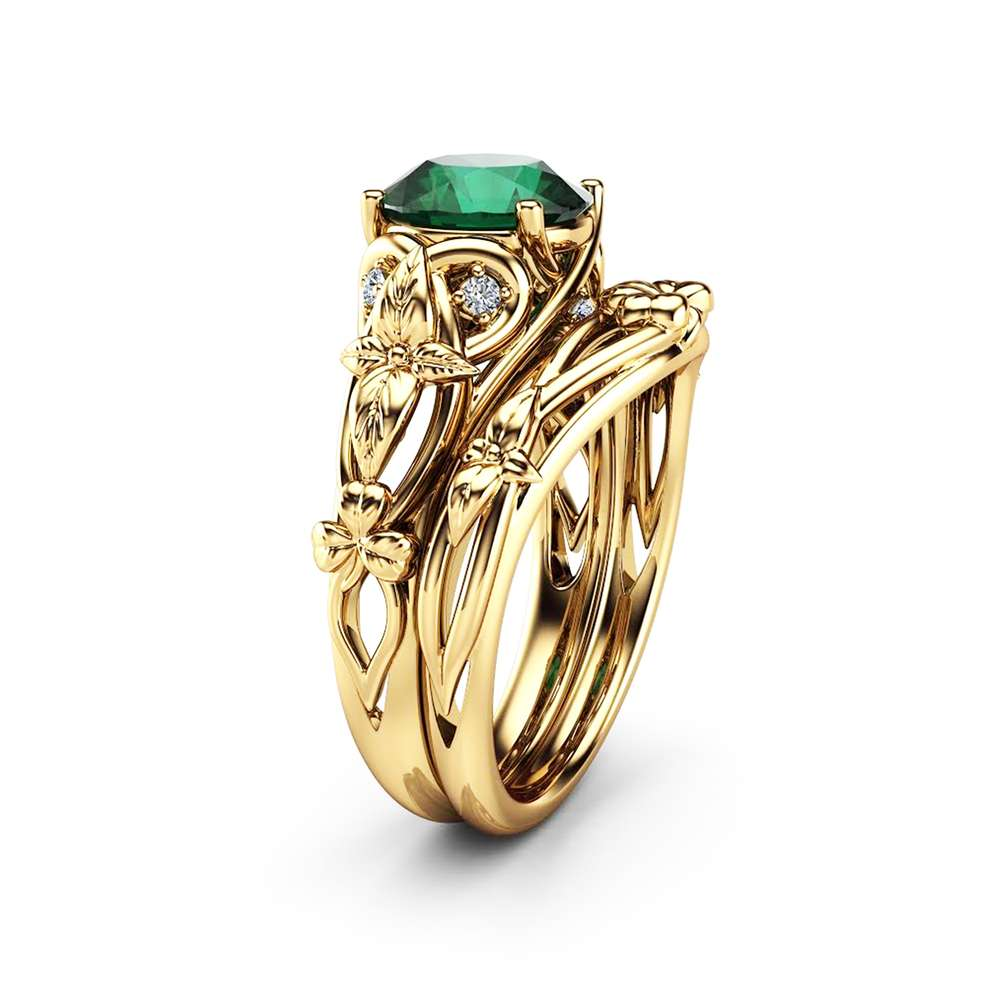 Natural Emerald Shamrock Celtic Knot Engagement Ring Set 14K Yellow Gold Emerald Ring Irish Engagement Ring with Matching Band