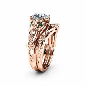 Moissanite Shamrock Celtic Knot Engagement Ring Set 14K Rose Gold Moissanite Ring Irish Engagement Ring St. Patrick's Day Gift