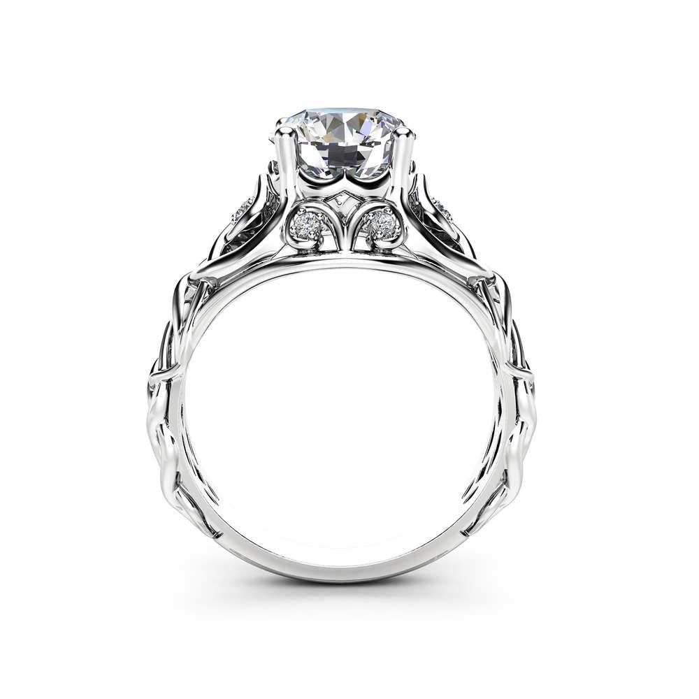 Celtic Moissanite Engagement Ring 14K White Gold Ring Unique Filigree Design Engagement Ring