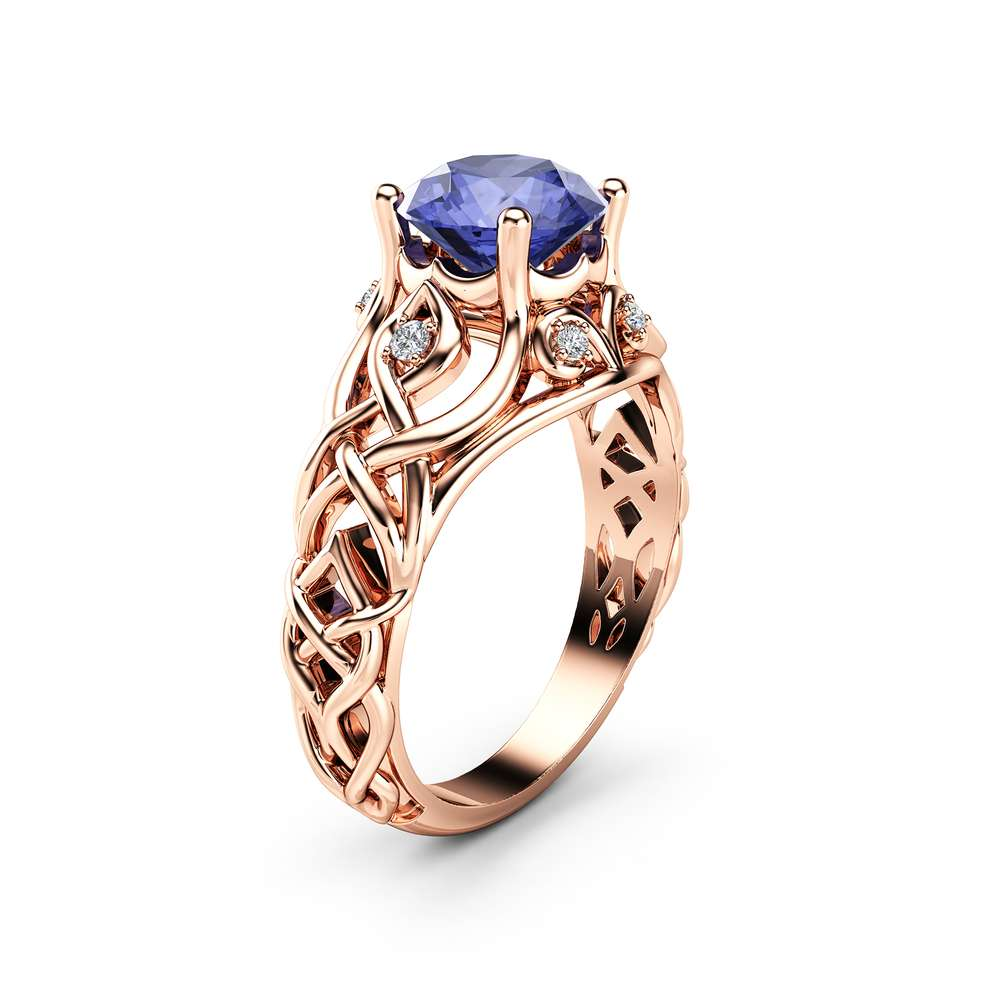 Celtic Bluish Violet Tanzanite Engagement Ring 14K Rose Gold Ring Natural Tanzanite Engagement Ring