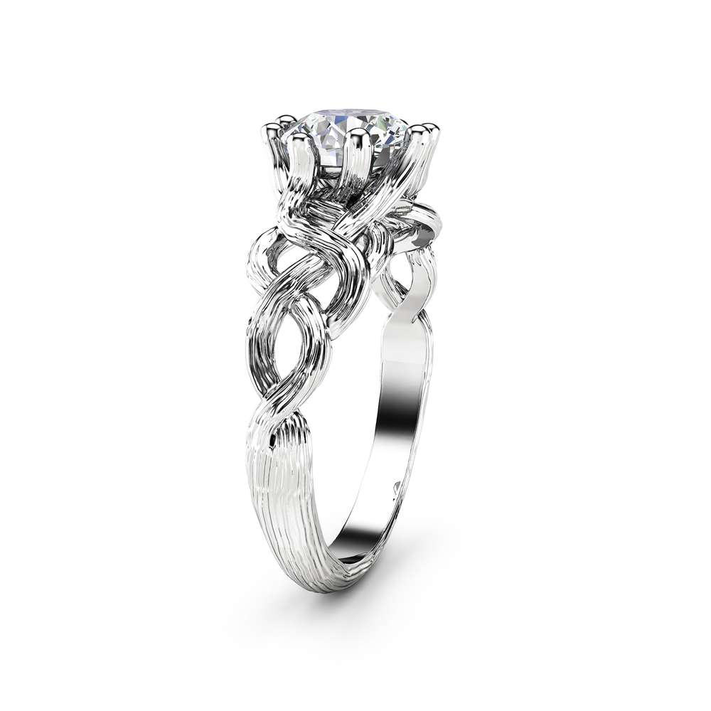 Twig Diamond Engagement Ring 14K White Gold Branch Ring Clarity Enhanced Diamond Ring