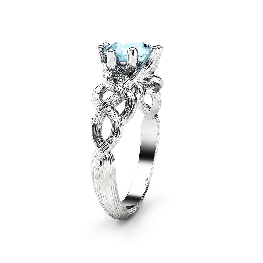 Blue Moissanite Engagement Ring White Gold Ring Twig Engagement Ring