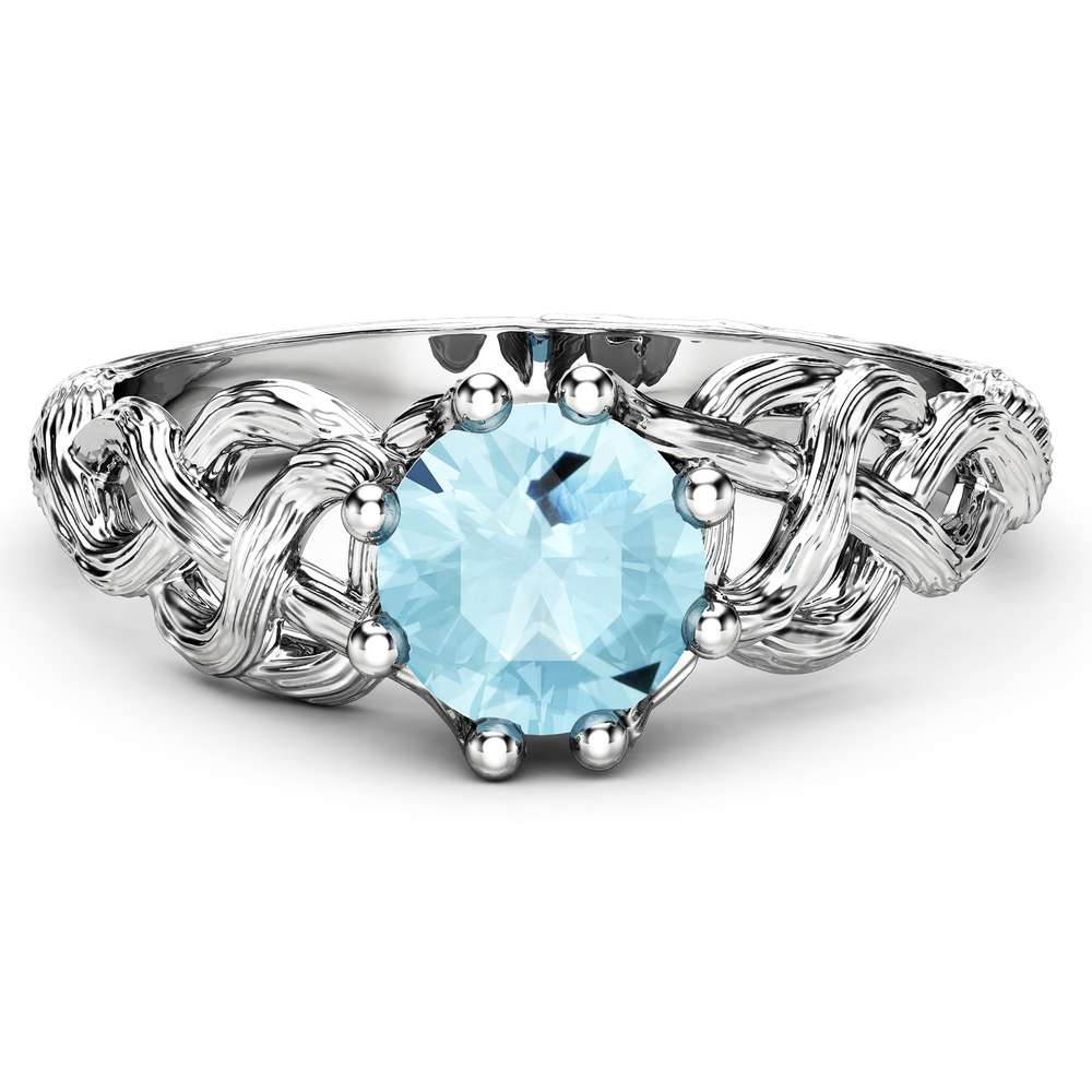 Aquamarine Handcrafted Branch Engagement Ring Aquamarine Twig Ring 14K White Gold Engagement Ring March Birthstone