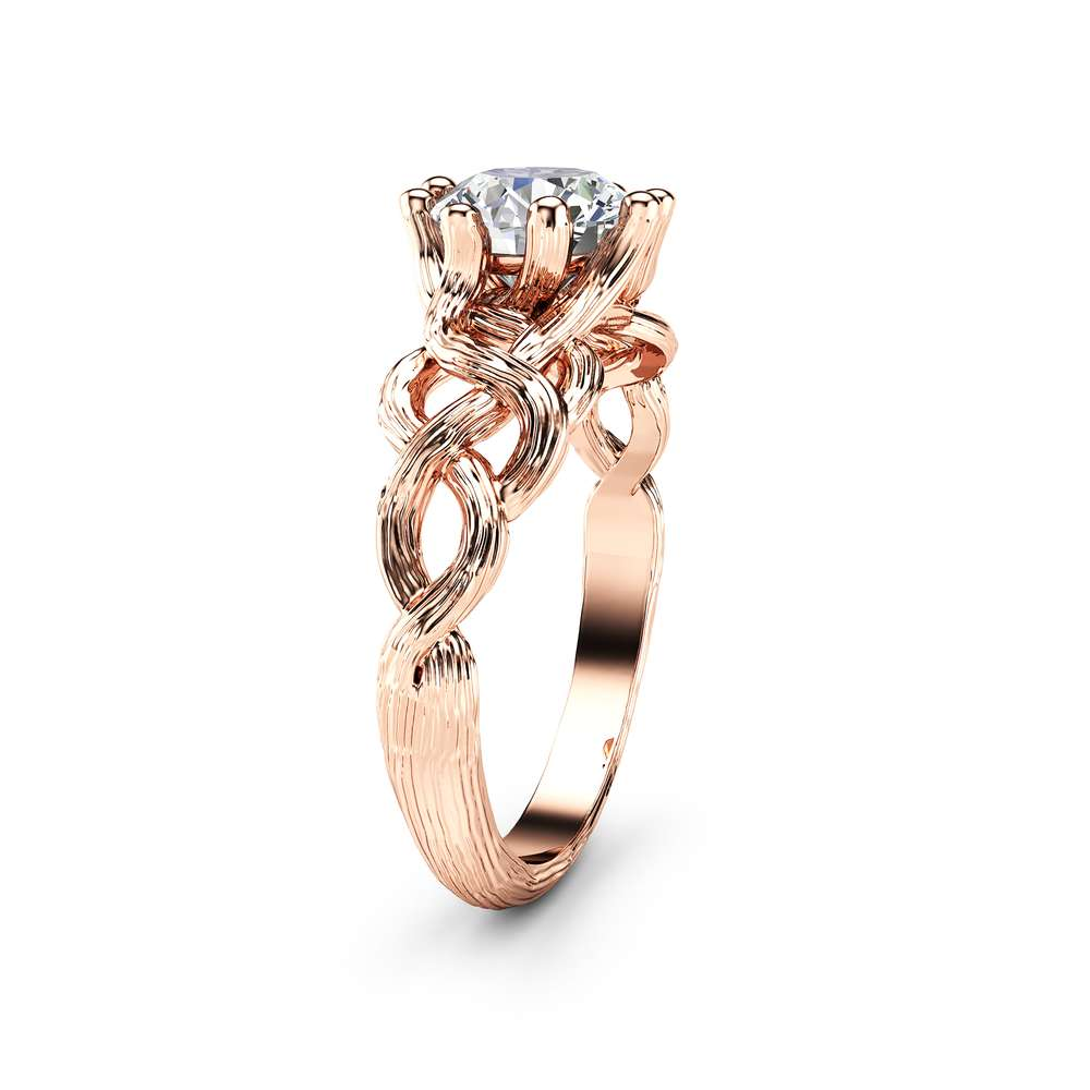 Twig Diamond Engagement Ring 14K Rose Gold Branch Ring Clarity Enhanced Diamond Ring