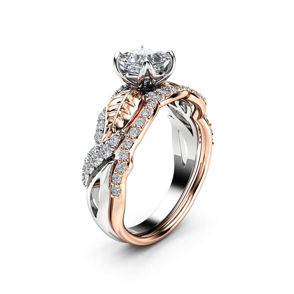 Princess Moissanite Engagement Ring 14K Two Tone Gold Engagement Rings Leaf Moissanite Ring