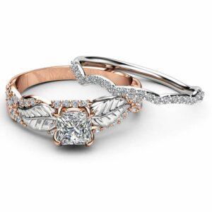 Princess Moissanite Engagement Ring 14K Two Tone Gold Engagement Rings Leaf Moissanite Ring with Matching Band