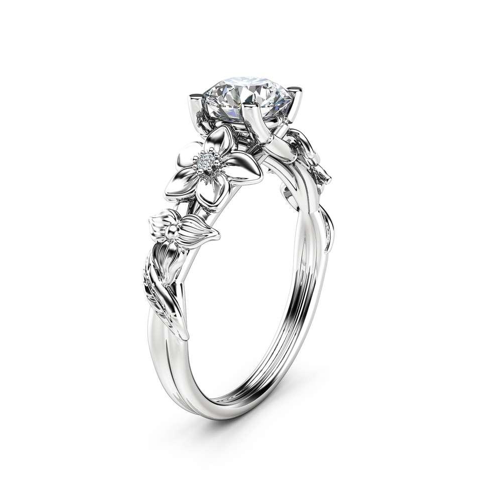 Flower Diamond Engagement Ring 14K White Gold Floral Ring Diamond Ring