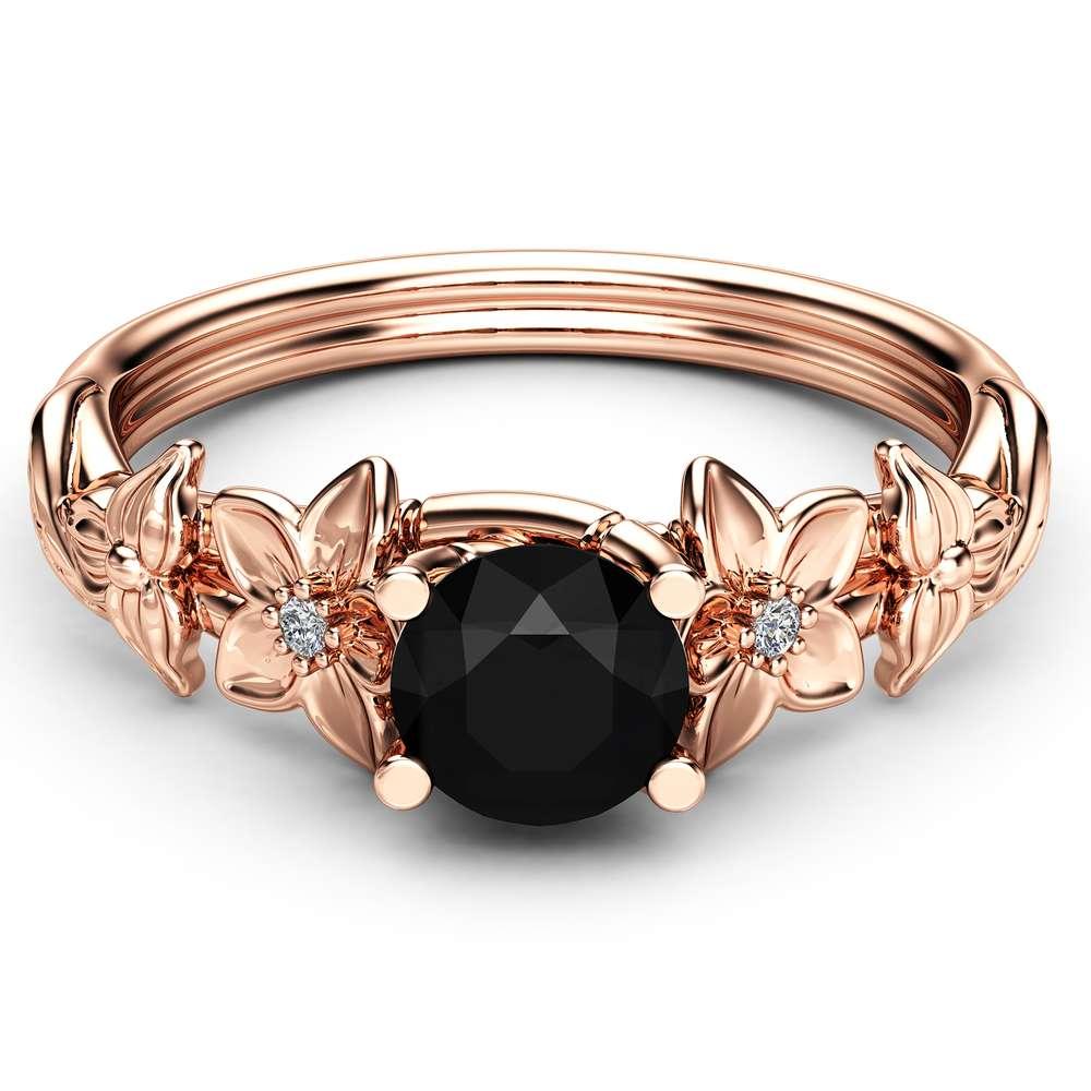 Black Diamond Engagement Ring 14K Rose Gold Diamond Ring Unique Flower Design Ring