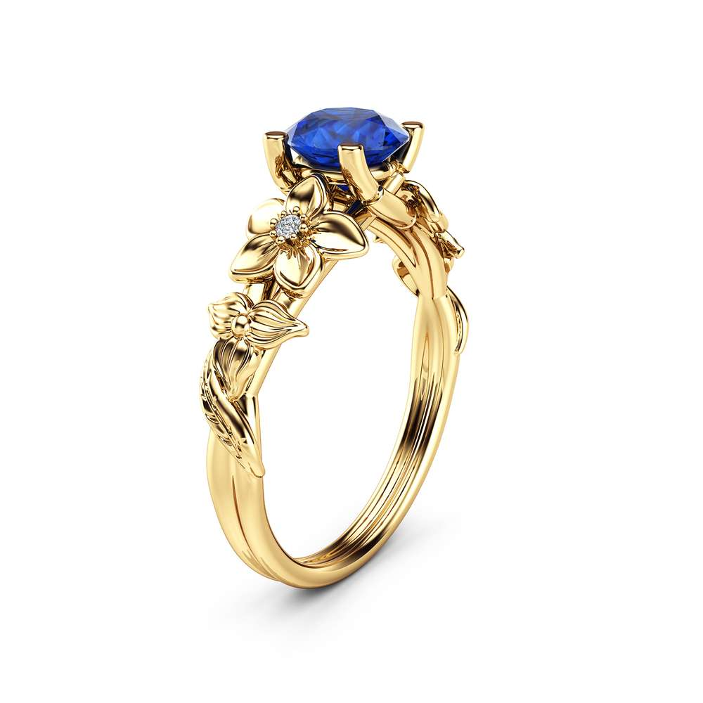 Blue Sapphire Engagement Ring 14K Yellow Gold Sapphire Ring Unique Flower Design Ring