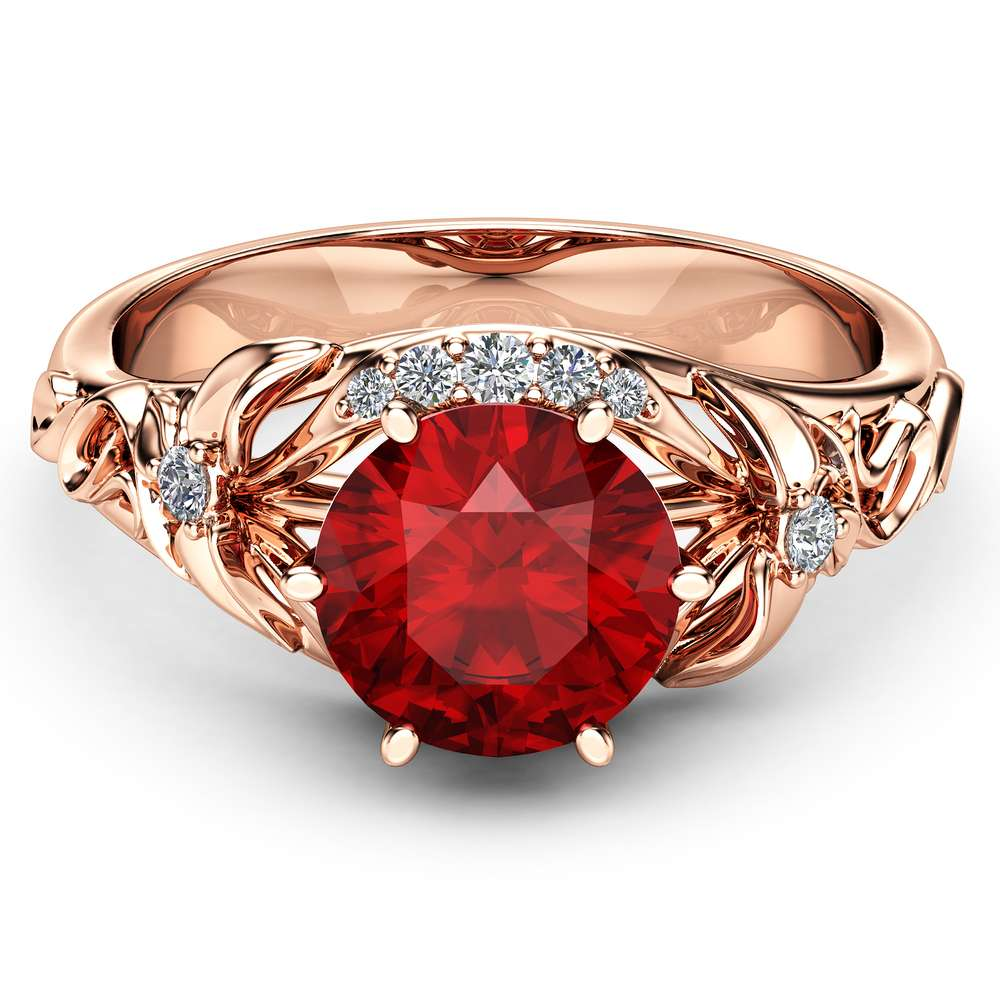 2Ct Ruby Engagement Ring 14K Rose Gold Ruby Engagement Ring Unique Wedding Band