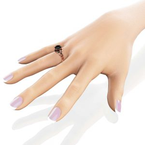 Natural Black Diamond Engagement Ring 14K Rose Gold Diamond Engagement Ring Unique Wedding 2 Carat Band