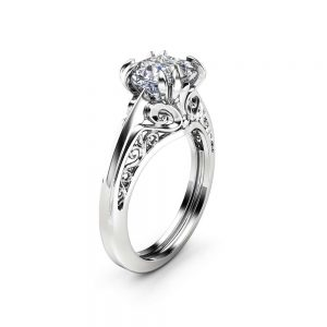 Filigree Solitaire Moissanite Engagement Ring 14K White Gold Ring Princess Cut Engagement Ring