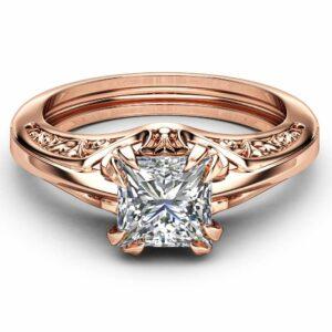 Princess Cut Solitaire Moissanite Engagement Ring Unique 14K Rose Gold Ring Art Deco Designed Ring