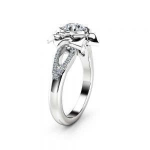 Natural Diamond Ring Solid Gold Ring 0.75Ct Diamond Engagement Ring Promise Flower Ring