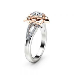 Natural Diamond Ring Solid Gold Ring 0.75Ct Diamond Engagement Ring Promise Flower Ring Anniversary