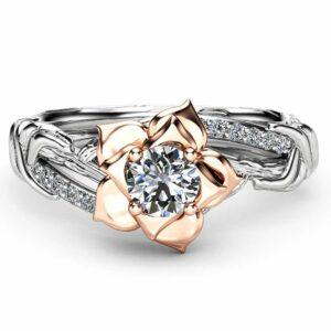 Diamond Branch Promise Ring Two Tone Gold Ring 0.5 Carat Diamond Engagement Ring Promise Flower Ring