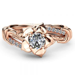 Diamond Branch Promise Ring Solid Gold Ring 0.5 Carat Diamond Engagement Ring Promise Flower Ring