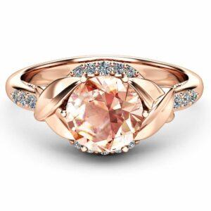 Art Deco Morganite Engagement Ring Unique 14K Rose Gold Engagement Ring 2 Carat Morganite Ring