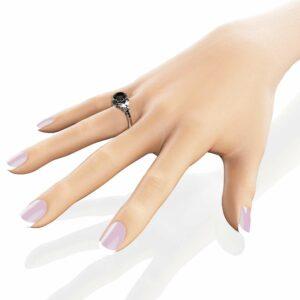 Art Deco Black Diamond Engagement Ring 14K White Gold Ring Unique Natural Black Diamonds Ring