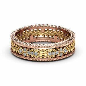 Unisex Milgrain Wedding Band 14K Two Tone Gold Ring Diamonds Wedding Band Unique Filigree Wedding Ring