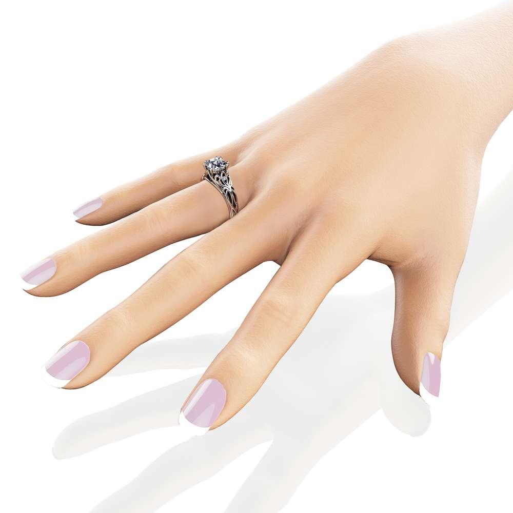 Unique Princess Cut Moissanite Engagement Ring 14K White Gold Victorian Ring Unique Engagement Ring