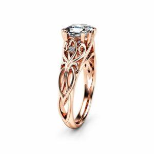 Victorian Princess Cut Moissanite Engagement Ring 14K Rose Gold Ring Unique Engagement Ring