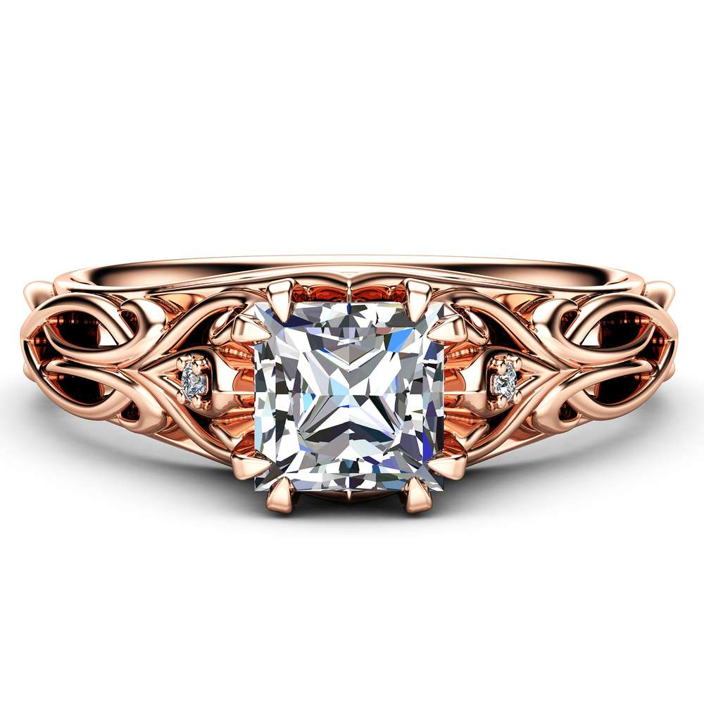 Victorian Princess Cut Moissanite Engagement Ring 14K Rose Gold Ring Unique Engagement Ring