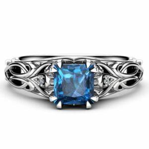 Art Deco Princess Topaz Engagement Ring 14K White Gold Engagement Ring Victorian Blue Topaz Ring