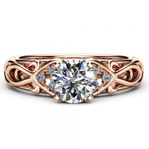 Swirled Moissanite Engagement Ring Rose Gold Heart Shaped Band Moissanite Wedding Ring