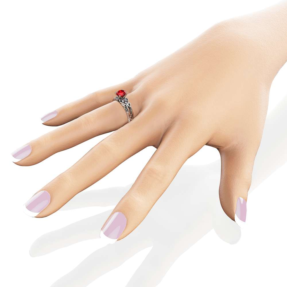 Swirled Ruby Engagement Ring White Gold Heart Band Moissanite Wedding Ring